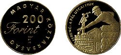2001 MAGYAR IFJÚSÁGI IRODALOM - MOLNÁR FERENC - SZINESFÉM ÉRME